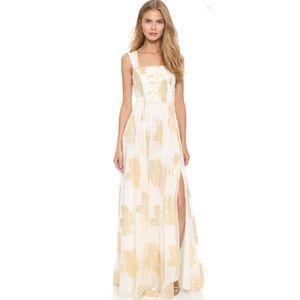 Lillie Metallic Leaf-Print Maxi Dress